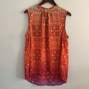 High neck patterned blouse